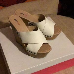 JustFab white wedges